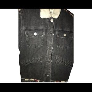 NWT Marant HM embroidered shearling jean jacket